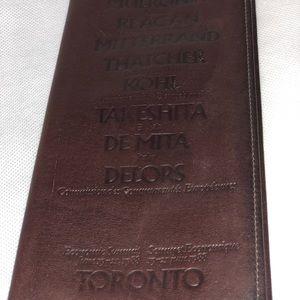 Vintage leather hand portfolio